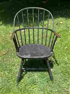 Black Painted Bow Back Windsor Armchair