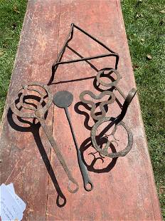 Six Pieces of Wrought Iron Kitchenware