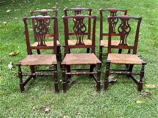 Fine Set of Six Maple Country Chippendale Chairs