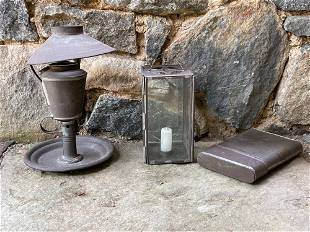 Two Pieces of Early Tin Lighting