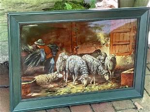Framed Porcelain Plaque of Sheep