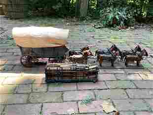Folk Art Model of a Horse Drawn Wagon