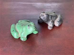 Two Cast Iron Frog Doorstops