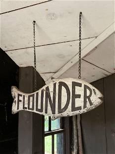 Folk Art Hanging Flounder Sign