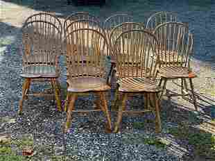 Ten T.C. Hayward Bamboo Turned Windsor Side Chairs