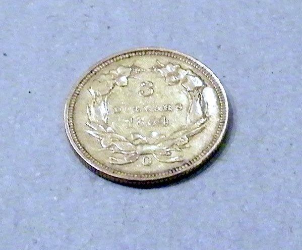 332: U.S. 1854 $3 Gold Coin. - 2