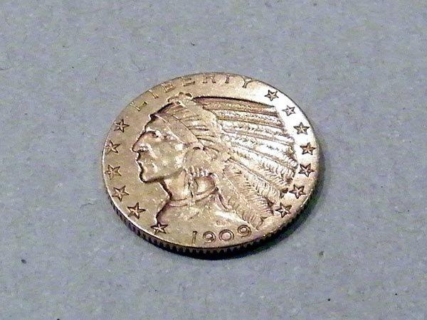 333: U.S. 1909 $5 Gold Coin.