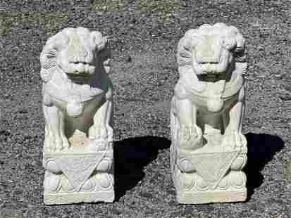 Pair of Chinese Carved White Marble Foo Dogs