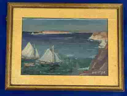Jonas Lie. Oil on Canvas Board, Seascape