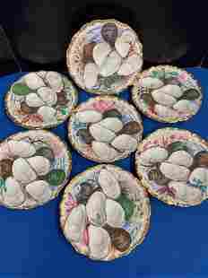 Seven Antique H&C Haviland Limoges Oyster Plates
