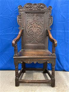 English Jacobean Carved Oak Hall Chair