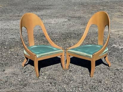 Pair of Hollywood Regency Spoon-back Chairs