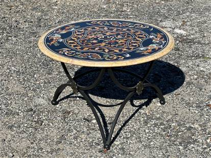 Pietra Dura and Wrought Iron Cocktail Table