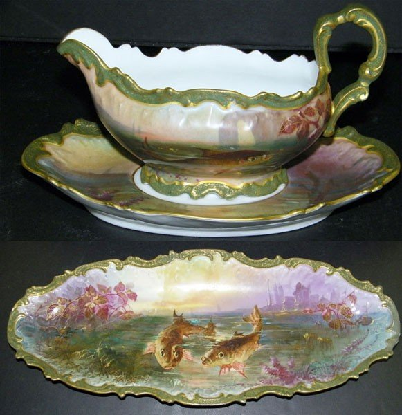 017: Limoges Gravy Boat with Underplate and Matching Pl