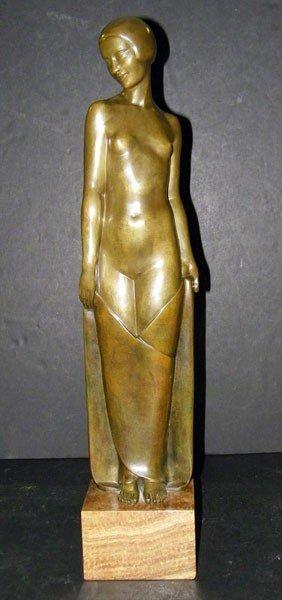 275: Pierre Le Faguays. Bronze Art Deco Nude
