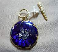 Lady's 18K Yellow Gold and Enameled Pocket Watch