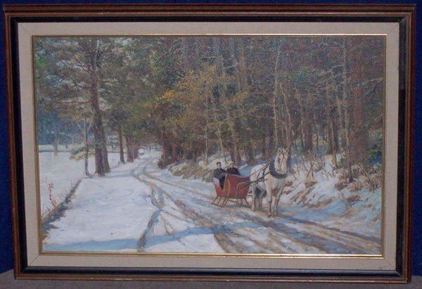 6: Unsigned. Oil/Board; Winter landscape. George A. New