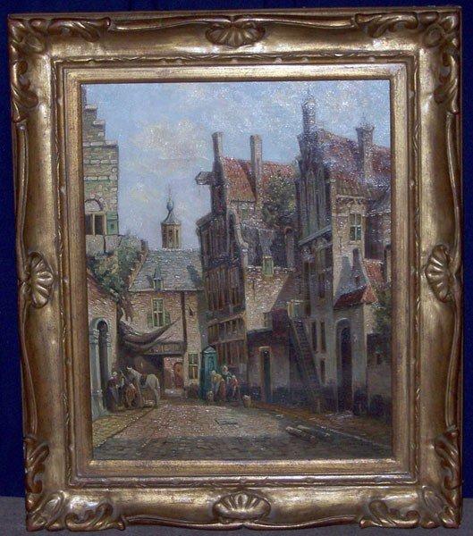 9: P.C. Steenhouwer. Oil/Canvas; Amsterdam Scene.