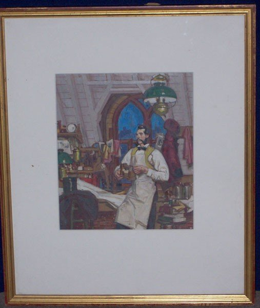 11: Unsigned. Oil painting used for calendar illustrati
