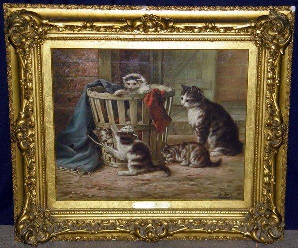 21: August Laux. Oil/Canvas; Kittens.
