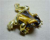 281 Tiger Eye and Gold Frog Brooch