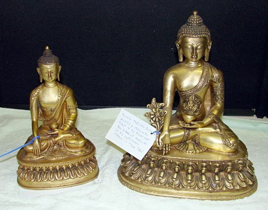 4: Lot of 2 Tibeten Bronze Buddhas