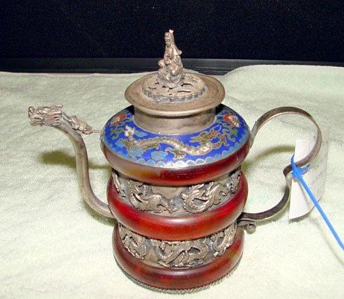 11: Chinese Quon Yin Cloisonné Teapot