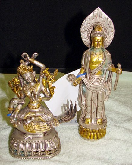 12: Lot of 2 Silvered-Bronze Quan Yin Figures
