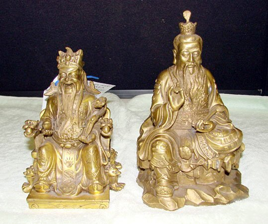 13: Lot of 2 Gilded-Bronze Good Fortune Figures