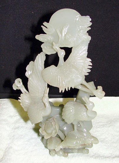 32: Chinese Jade Carving of Cranes