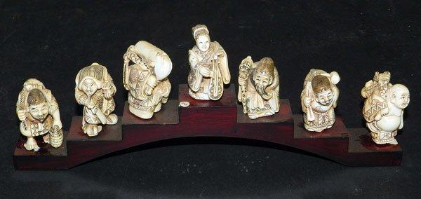 136: Antique Ivory Netsuke: Seven Lucky Gods