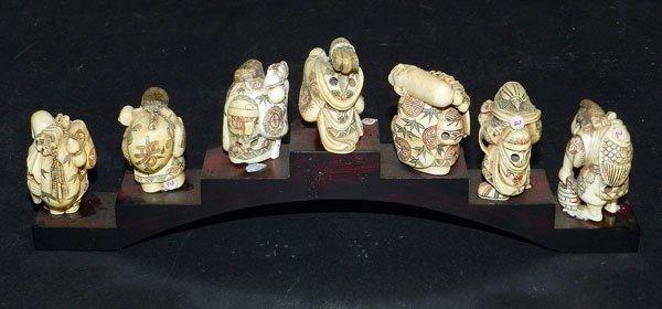 136: Antique Ivory Netsuke: Seven Lucky Gods - 2