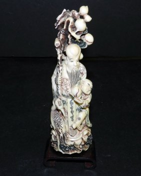 Antique Carved Ivory Figurine Of Man