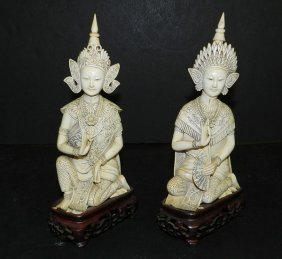 Pair Of Antique Carved Ivory Goddesses