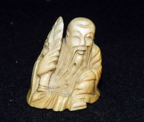 Antique Carved Ivory Fukurokuju Netsuke