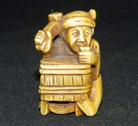 Antique Carved Ivory Daikoku Netsuke