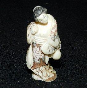 Antique Carved Ivory Geisha