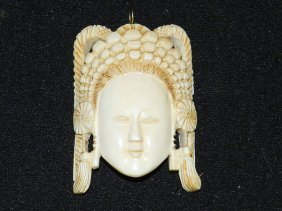 Antique Carved Ivory Mask Pendant