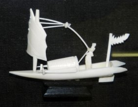 Framed Antique Carved Ivory Boat