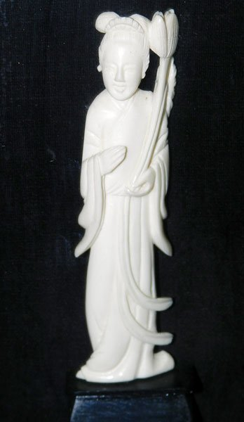 175: Framed Antique Carved Ivory Figure