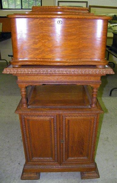 215: Regina Oak-case Music Box with Stand