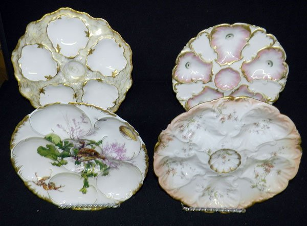 309: Lot of 4 Limoges Oyster Plates
