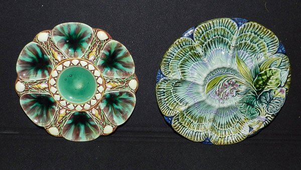 310: Two Majolica Oyster Plates