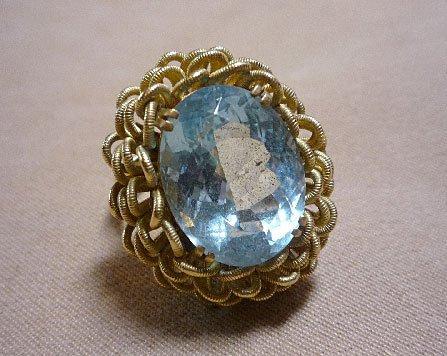 371: 18K Aquamarine Ring