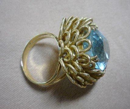 371: 18K Aquamarine Ring - 2