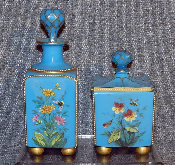 17: Blue Custard Glass Powder Jar & Bottle