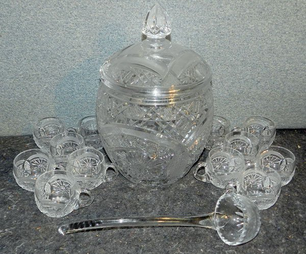 19: Cut Glass Punch Set