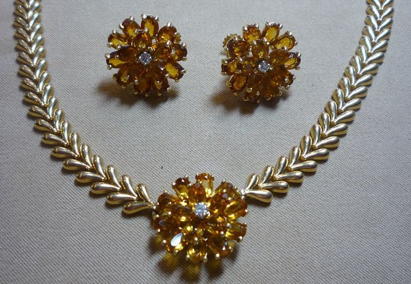 190: Citrine Necklace and Earrings