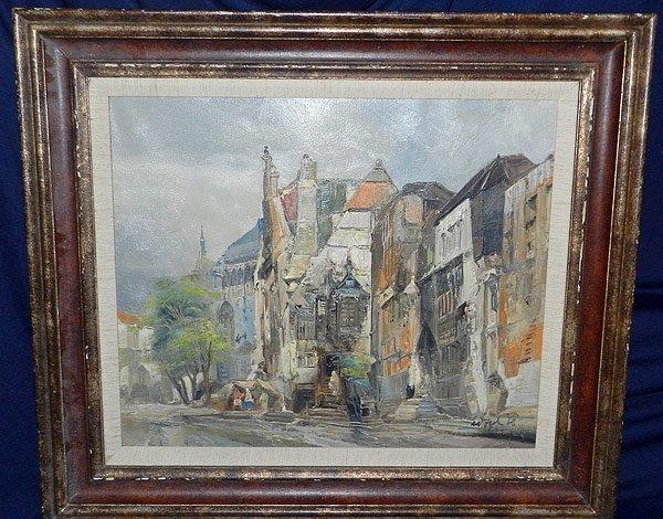 13: Signed/Illegible, Oil/Canvas Amsterdam Scene