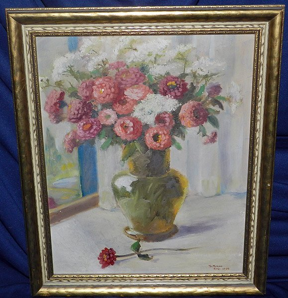 14: Signed/Illegible, Oil/Canvas Floral Still Life